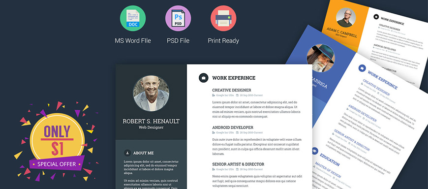 resume template word, psd