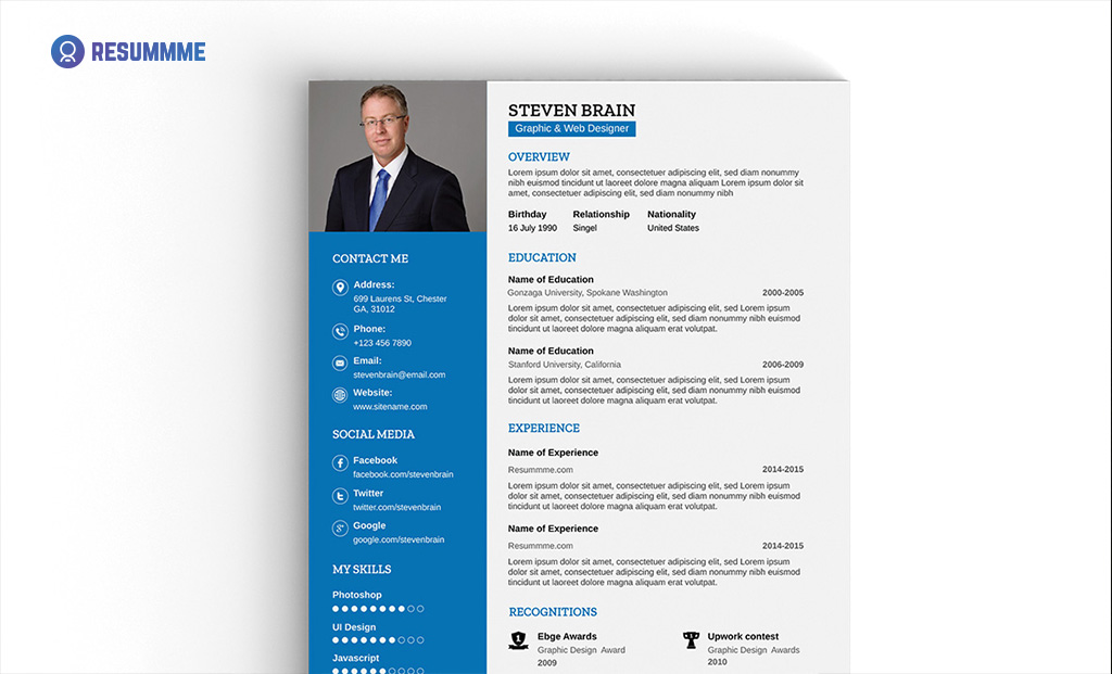 Download Professional Resume Template In .AI Format And Itu0026#039;s Completely  Free. You Can Use It For Personal Purpose Only. Designed By Resummme.com