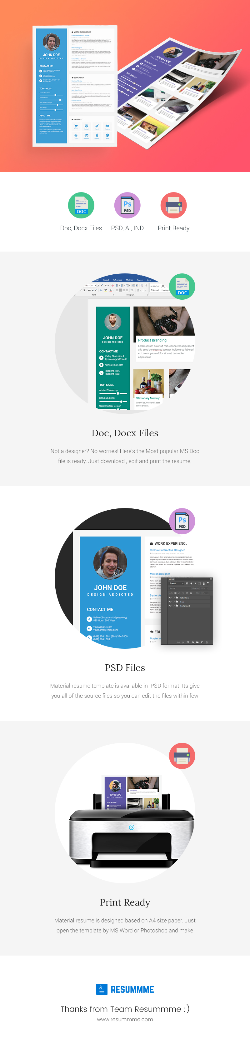 material resume template ms word docx doc psd