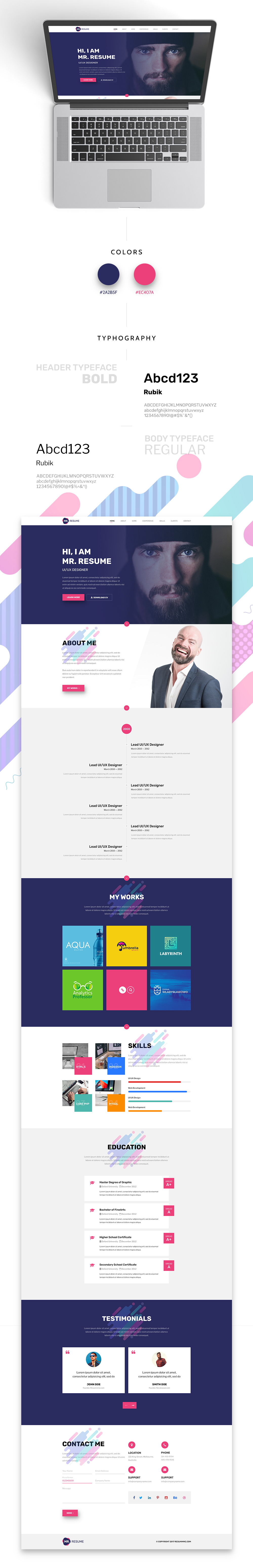 resume free psd template