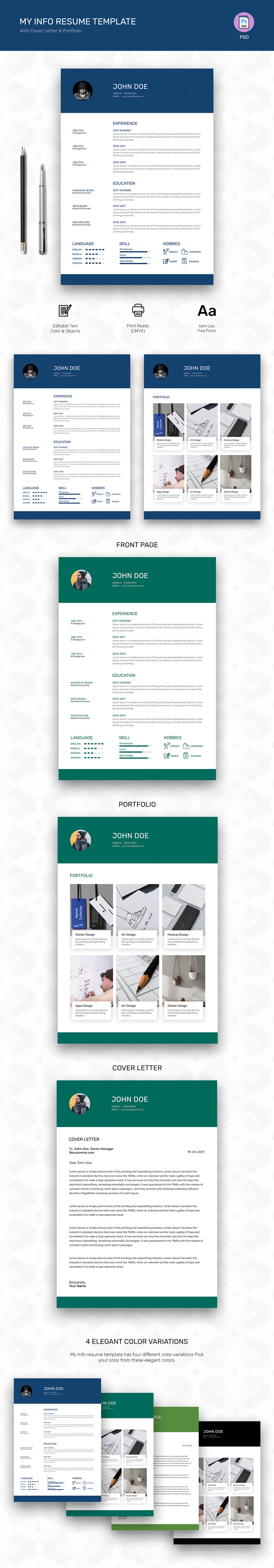 My info free resume template psd