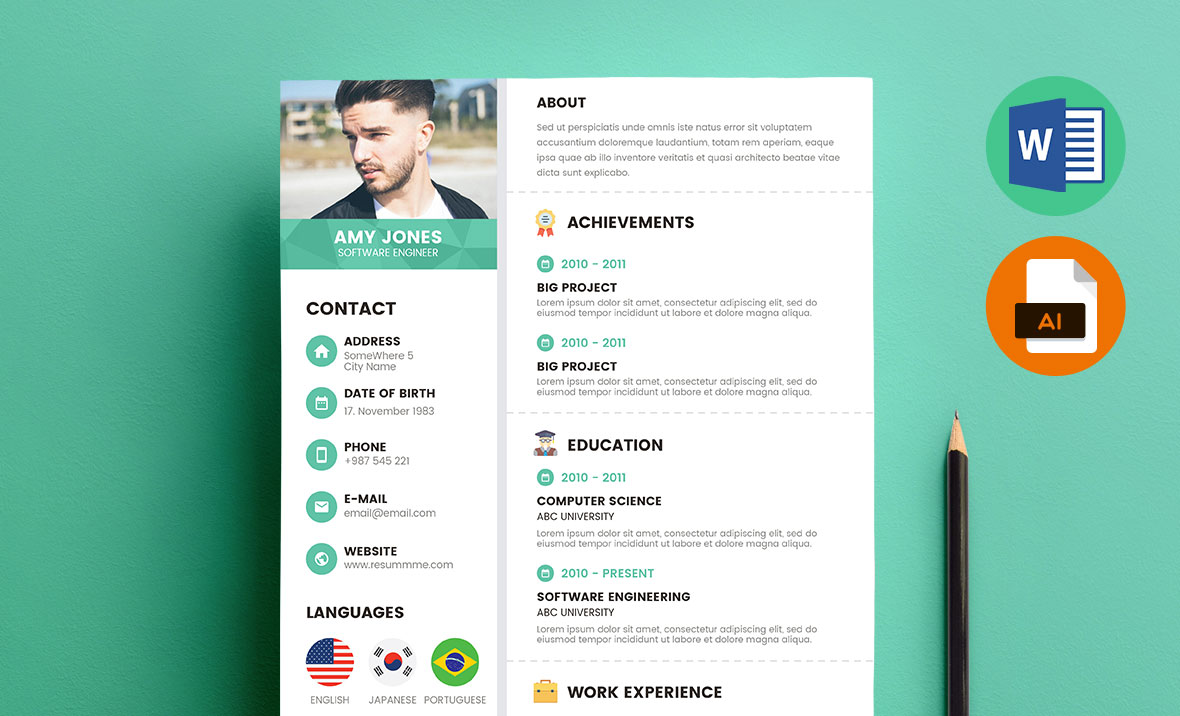 Corporate Resume Template Word, Doc, Docx, AI, EPS