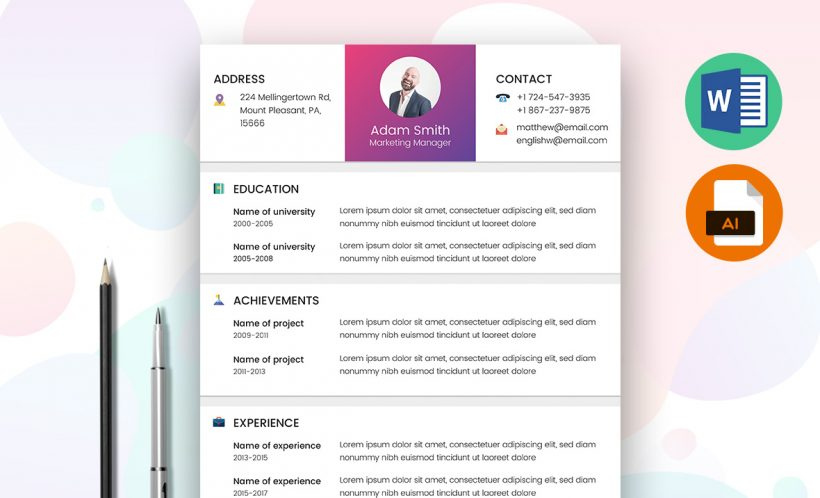 marketing resume template word