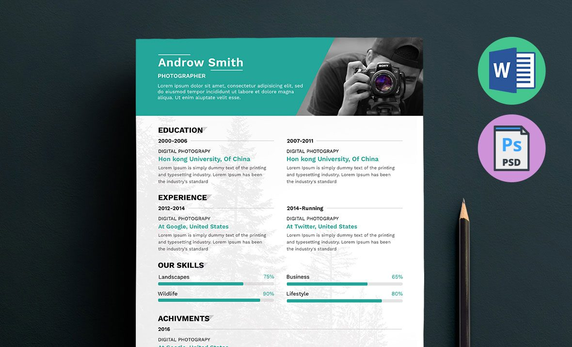 photographer resume template word docx doc psd