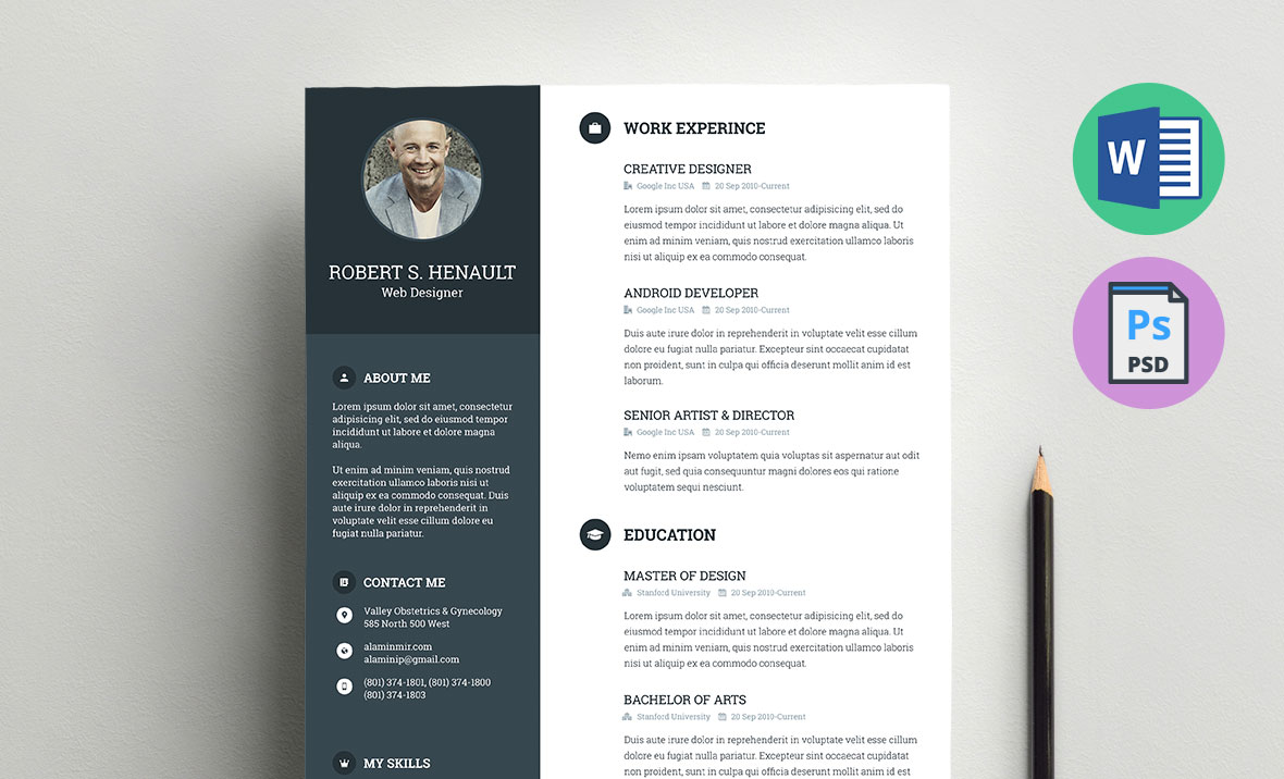 resume template word  doc  docx  and psd formats