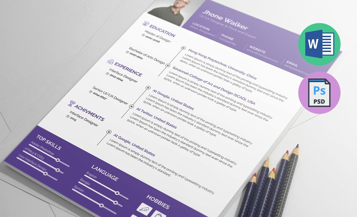 Ux Designer Resume Template In Ms Word Docx Psd Formats