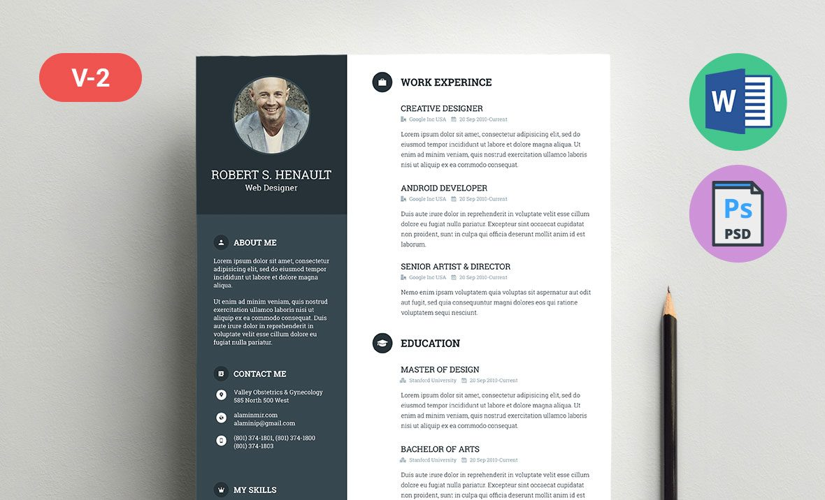 Resume Template Word Doc Docx And Psd Formats Resummmecom - Template-resume-word