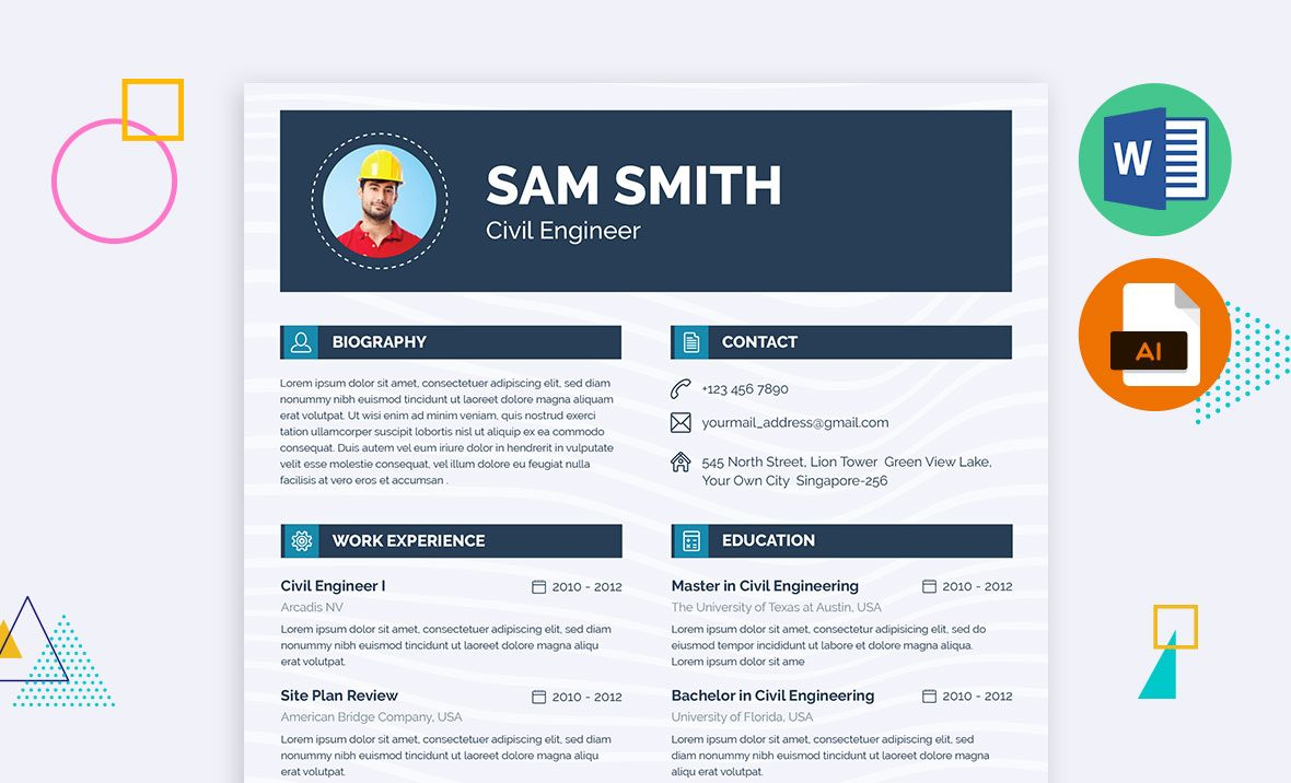Civil Engineering Resume Template, Docx, Doc, AI, EPS