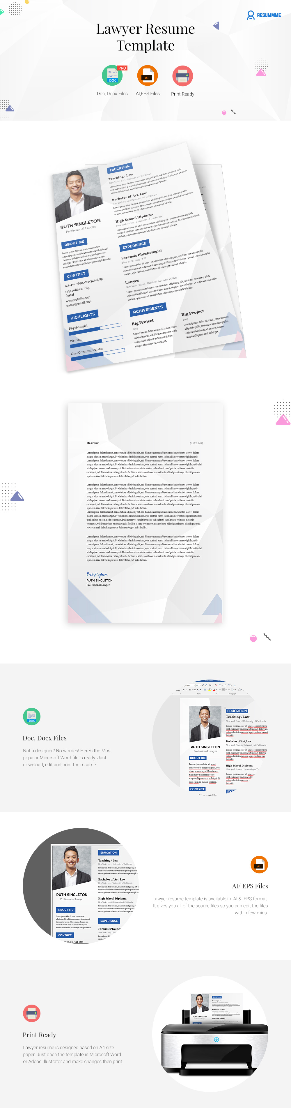 Lawyer Resume Template Word Ai And Eps  ResummmeCom