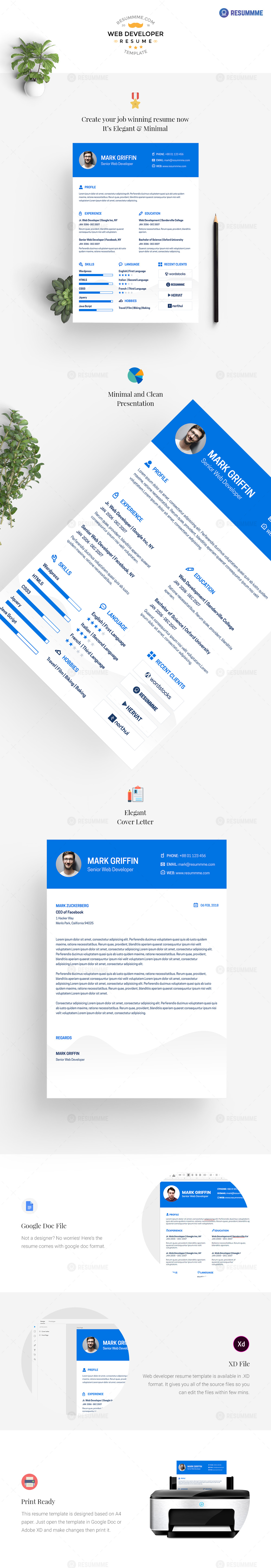 web developer resume template free