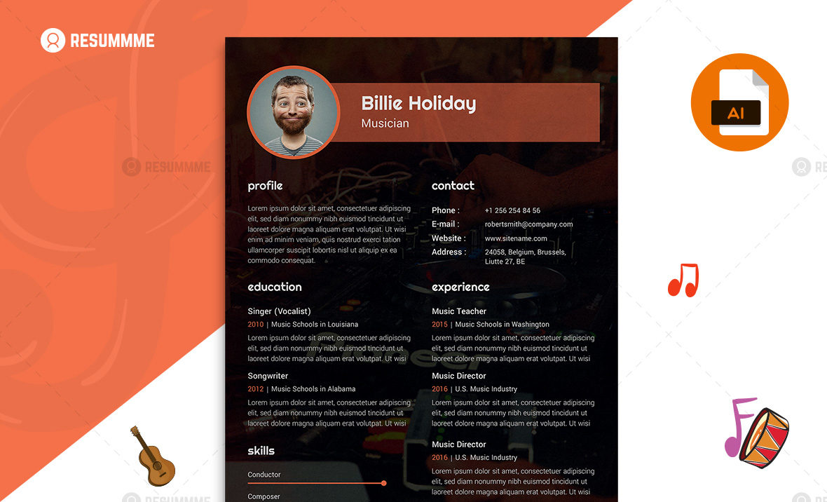 Musician Resume Template Free Download Resummme