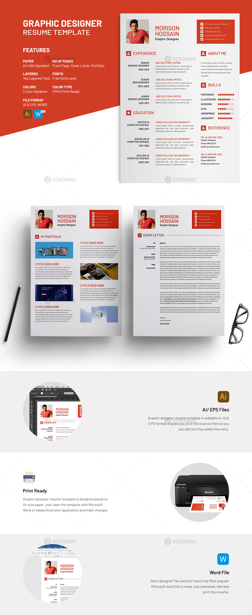 Graphic Designer Resume Freemium  ResummmeCom