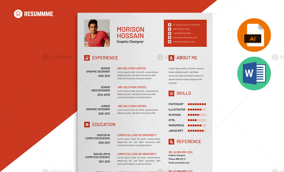 Graphic Designer Resume Freemium Resummme
